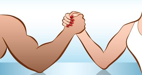 spieren man versus vrouw